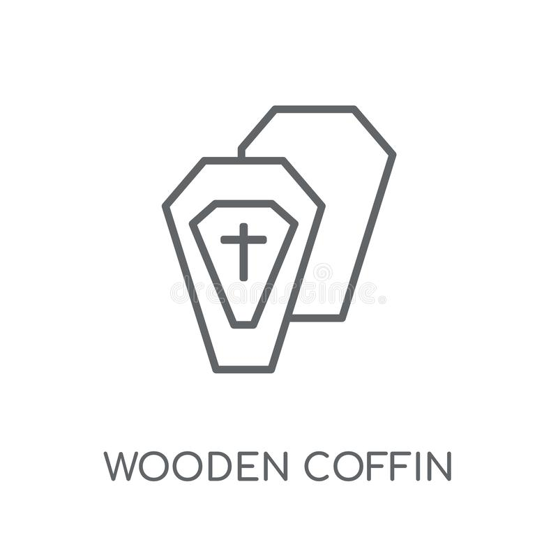 Icona lineare della bara di legno Raggiro di legno di logo della bara del profilo moderno illustrazione di stock