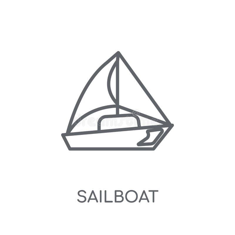 Icona lineare della barca a vela Concetto moderno di logo della barca a vela del profilo su wh illustrazione di stock