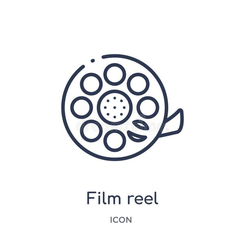 Icona lineare della bobina di film dalla raccolta del profilo del influencer e di blogger Vettore sottile della bobina di pellico illustrazione vettoriale