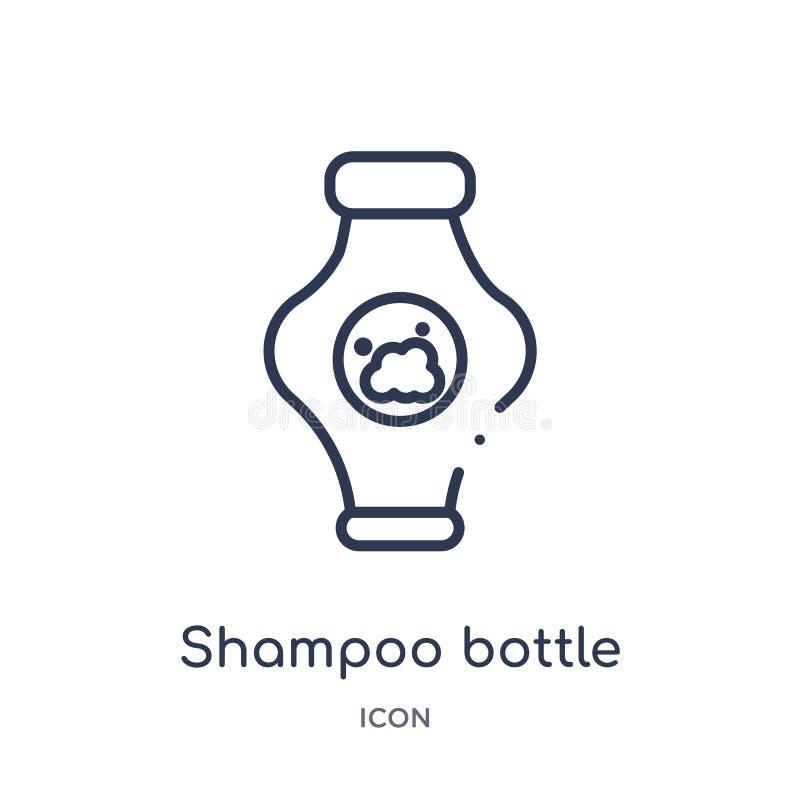 Icona lineare della bottiglia dello sciampo dalla raccolta del profilo di bellezza Linea sottile vettore della bottiglia dello sc illustrazione di stock