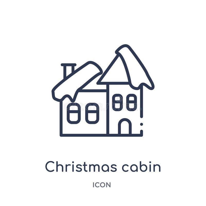 Icona lineare della cabina di natale dalla raccolta del profilo di Natale Linea sottile vettore della cabina di natale isolato su illustrazione di stock