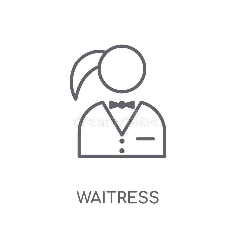 Icona lineare della cameriera di bar Concetto moderno di logo della cameriera di bar del profilo su wh illustrazione di stock