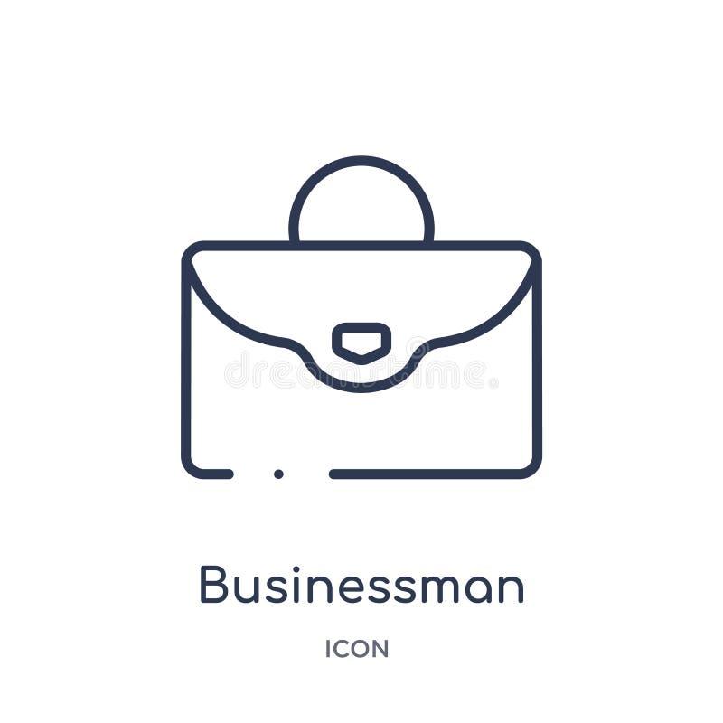 Icona lineare della cartella dell'uomo d'affari dalla raccolta del profilo degli strumenti della costruzione Linea sottile vettor illustrazione vettoriale
