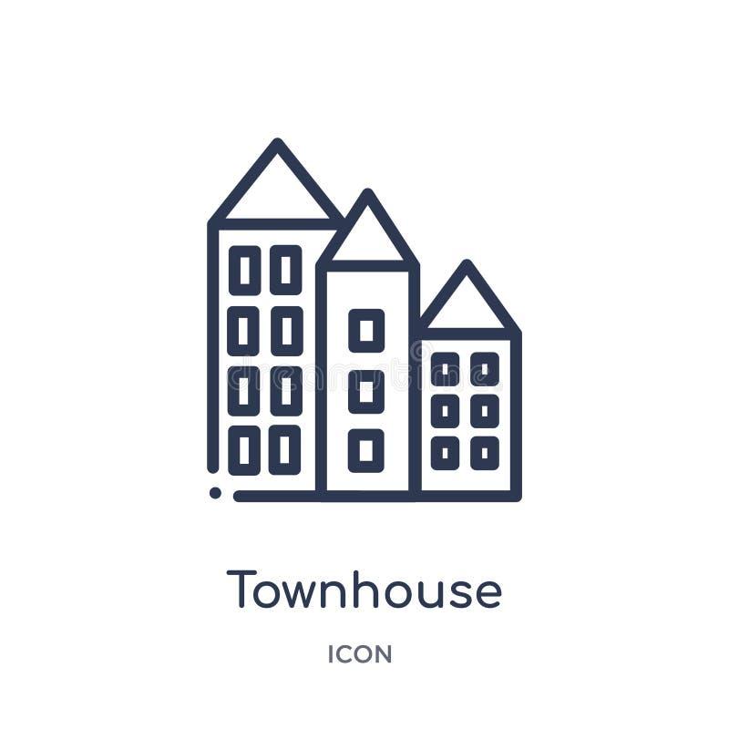 Icona lineare della casa urbana dalla raccolta del profilo delle costruzioni Linea sottile icona della casa urbana isolata su fon illustrazione di stock