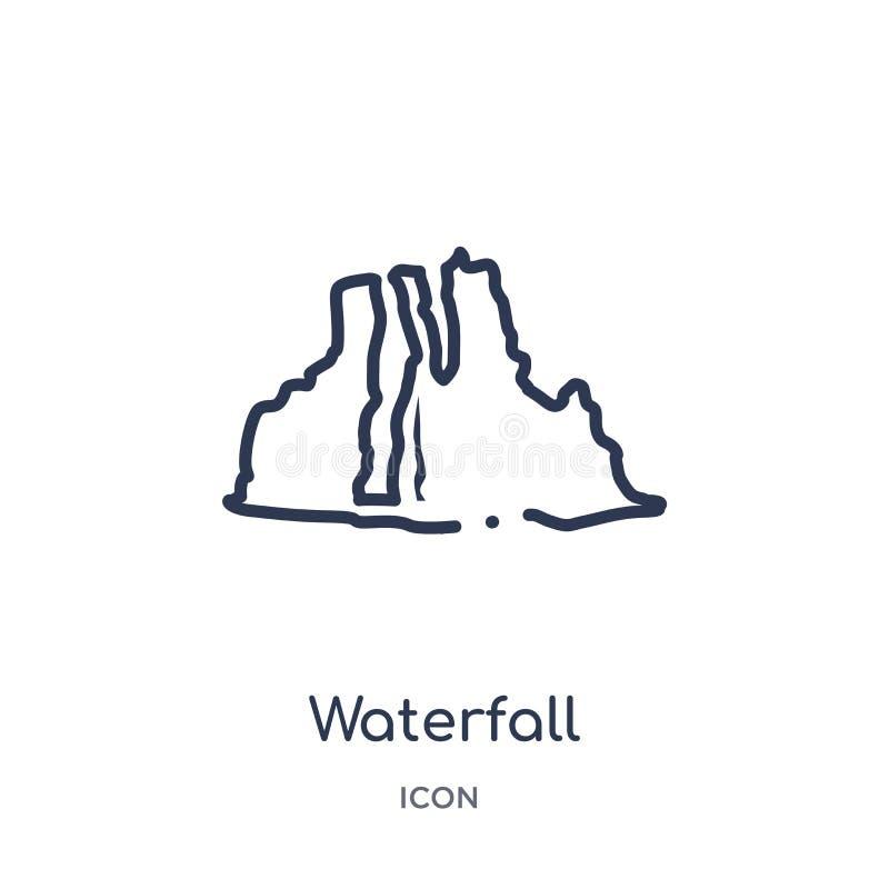 Icona lineare della cascata dalla raccolta del profilo dell'Africa Linea sottile vettore della cascata isolato su fondo bianco ca illustrazione vettoriale