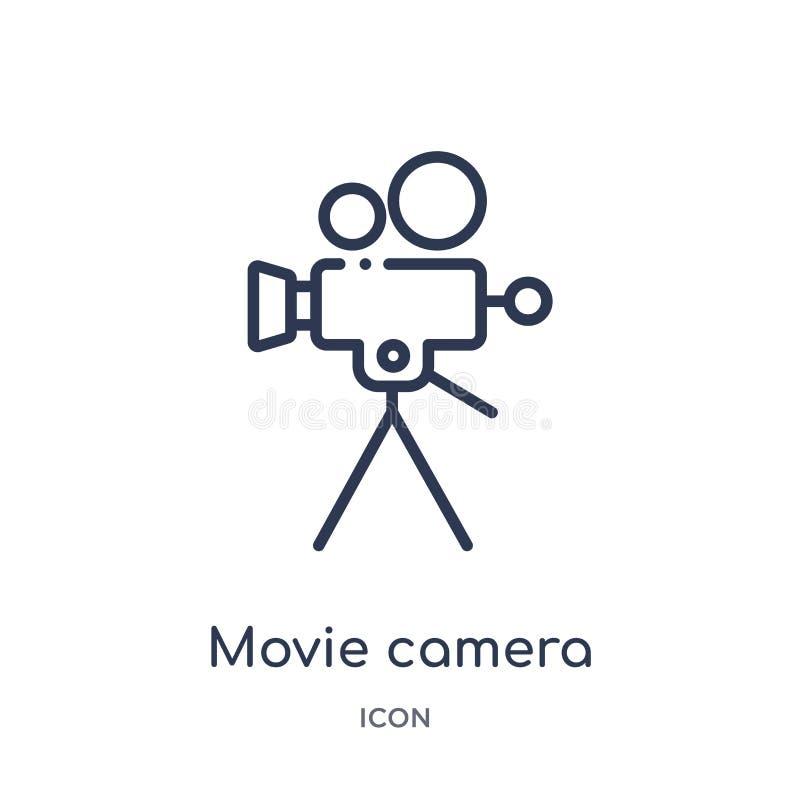 Icona lineare della cinepresa dalla raccolta del profilo del cinema Linea sottile vettore della cinepresa isolato su fondo bianco illustrazione vettoriale