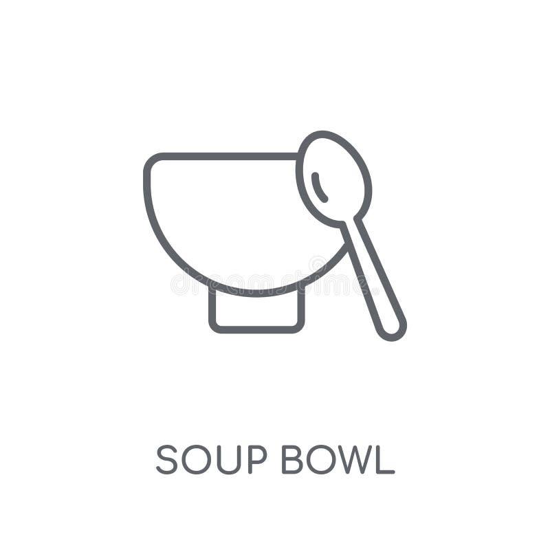 icona lineare della ciotola di minestra Concetto moderno di logo della ciotola di minestra del profilo sopra illustrazione di stock