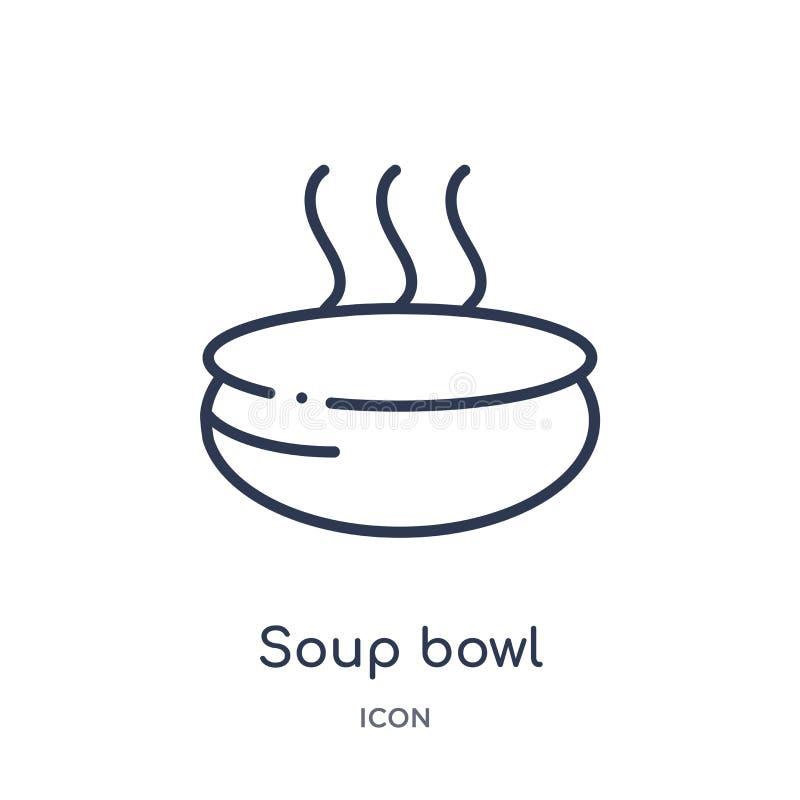Icona lineare della ciotola di minestra dalla raccolta del profilo della cucina Linea sottile icona della ciotola di minestra iso royalty illustrazione gratis