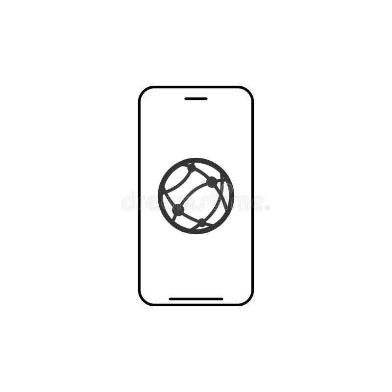Icona lineare della connessione di rete di Smartphone Illustrazione al tratto sottile Smart Phone con il simbolo di modello di co illustrazione vettoriale
