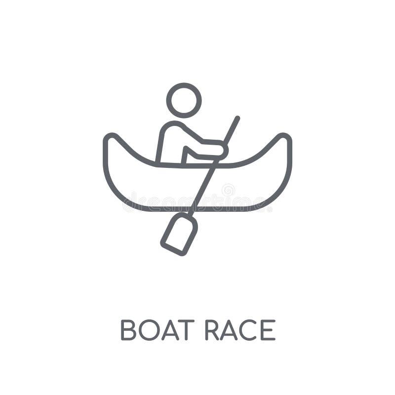 Icona lineare della corsa di barca Concetto moderno di logo della corsa di barca del profilo sopra royalty illustrazione gratis