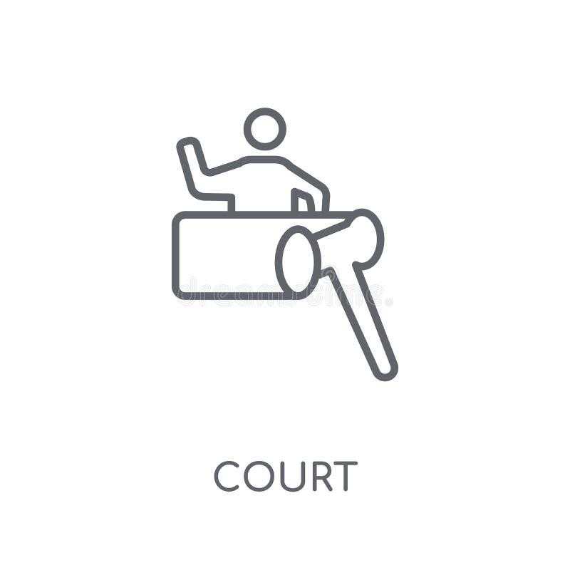 Icona lineare della corte Concetto moderno di logo della corte del profilo sulle sedere bianche illustrazione di stock