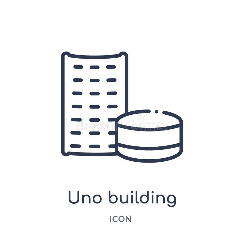 Icona lineare della costruzione di ONU dalla raccolta del profilo delle costruzioni Linea sottile vettore della costruzione di ON illustrazione vettoriale