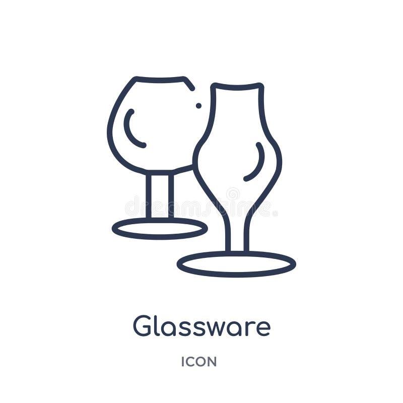 Icona lineare della cristalleria dalla raccolta del profilo della famiglia e della mobilia Linea sottile icona della cristalleria illustrazione di stock