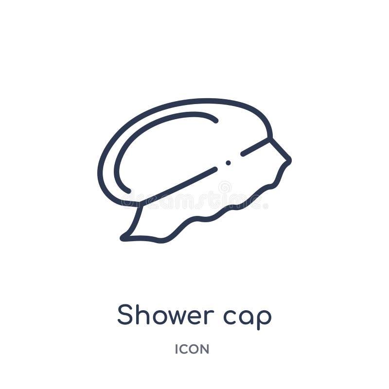 Icona lineare della cuffia da doccia dalla raccolta del profilo di igiene Linea sottile icona della cuffia da doccia isolata su f illustrazione di stock