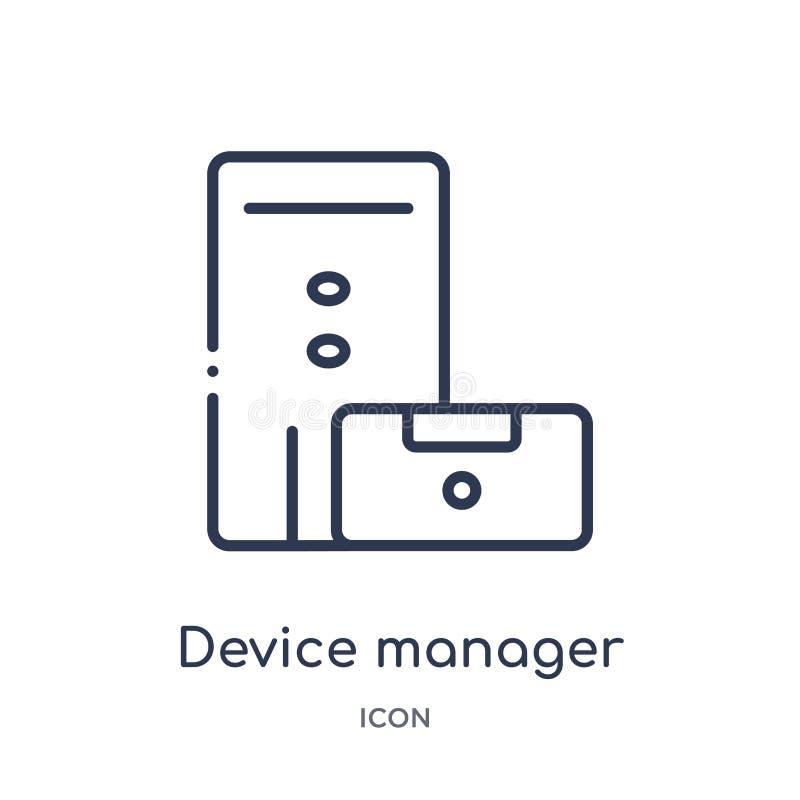 Icona lineare della gestione periferiche dalla raccolta del profilo dell'hardware Linea sottile icona della gestione periferiche  royalty illustrazione gratis