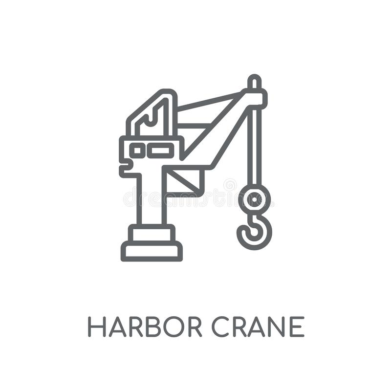 Icona lineare della gru del porto Conce moderno di logo della gru del porto del profilo illustrazione vettoriale