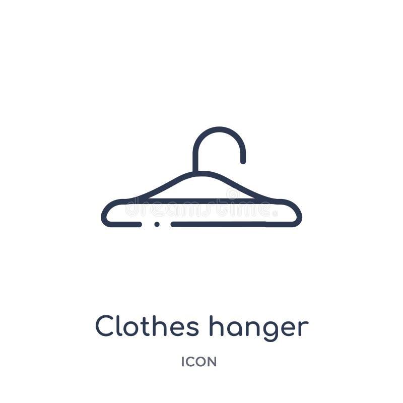 Icona lineare della gruccia per vestiti dalla raccolta del profilo di igiene Linea sottile icona della gruccia per vestiti isolat illustrazione vettoriale