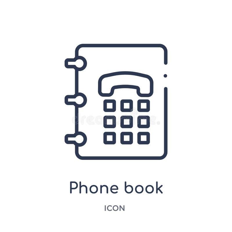 Icona lineare della guida telefonica dalla raccolta contenta del profilo Linea sottile vettore della guida telefonica isolato su  royalty illustrazione gratis