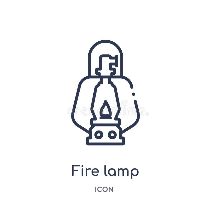 Icona lineare della lampada del fuoco dalla raccolta di campeggio del profilo Linea sottile vettore della lampada del fuoco isola illustrazione di stock