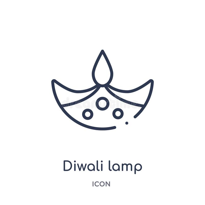 Icona lineare della lampada di diwali dalla raccolta del profilo dell'India Linea sottile icona della lampada di diwali isolata s illustrazione di stock