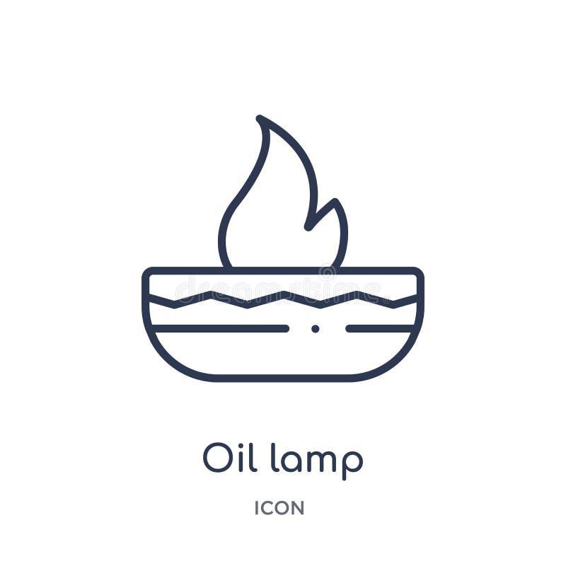 Icona lineare della lampada a olio dalla raccolta del profilo di holi e dell'India Linea sottile icona della lampada a olio isola royalty illustrazione gratis