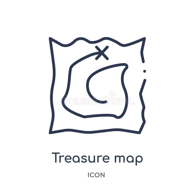 Icona lineare della mappa del tesoro dalla raccolta del profilo di istruzione Linea sottile vettore della mappa del tesoro isolat illustrazione di stock