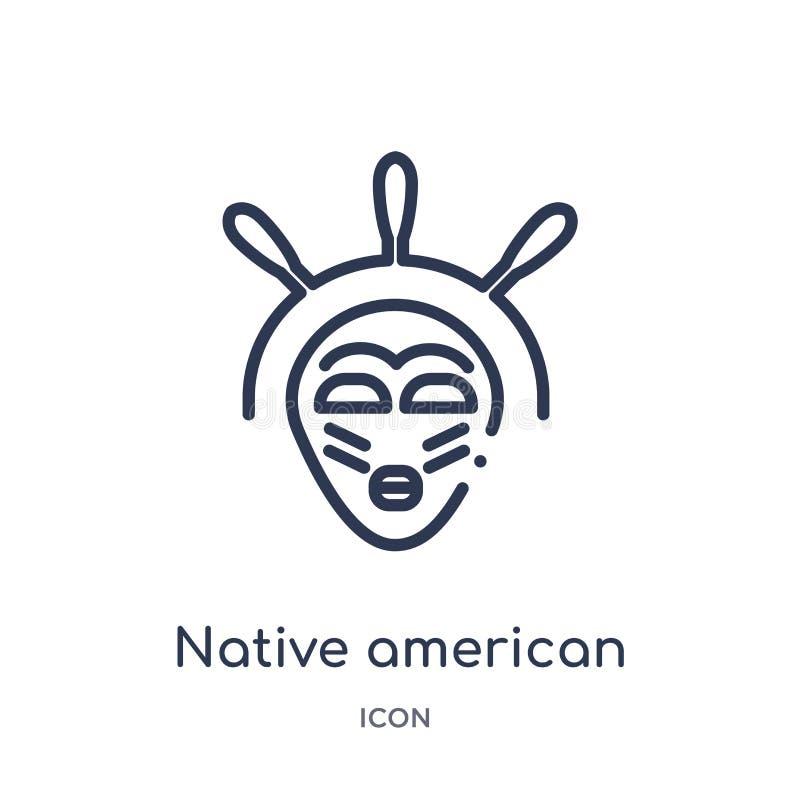 Icona lineare della maschera del nativo americano dalla raccolta del profilo della cultura Linea sottile vettore della maschera d illustrazione di stock