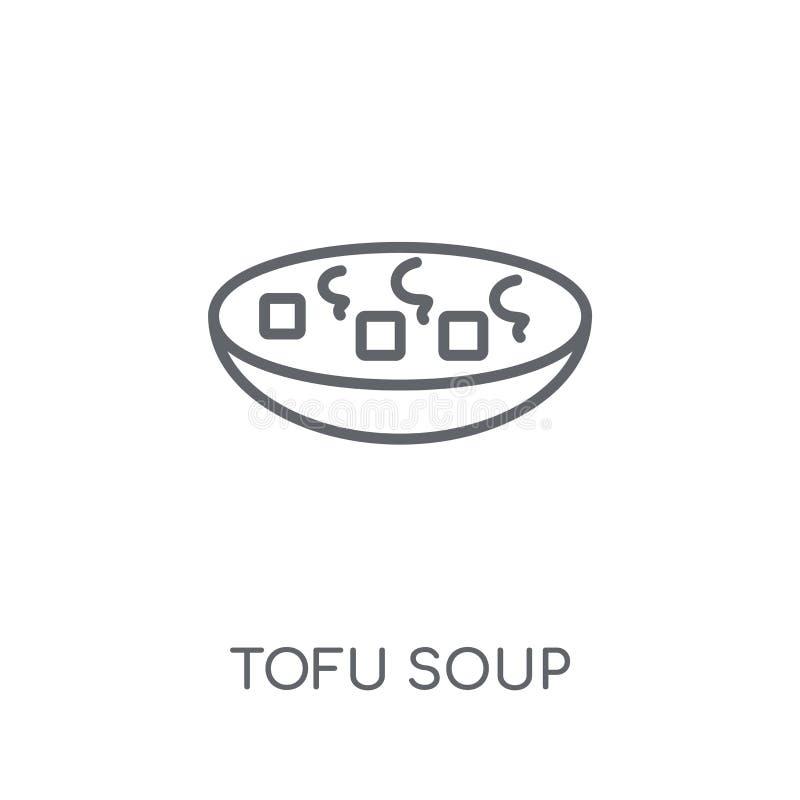 Icona lineare della minestra del tofu Concetto moderno di logo della minestra del tofu del profilo sopra royalty illustrazione gratis