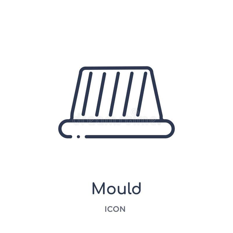 Icona lineare della muffa dalla raccolta del profilo della cucina Linea sottile icona della muffa isolata su fondo bianco illustr royalty illustrazione gratis