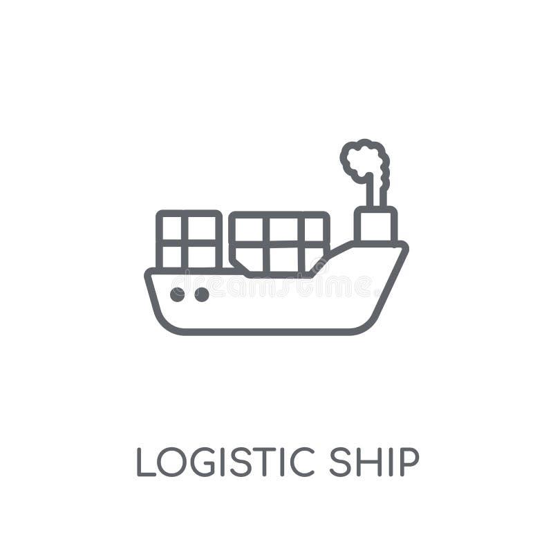 Icona lineare della nave logistica Raggiro logistico di logo della nave del profilo moderno illustrazione vettoriale