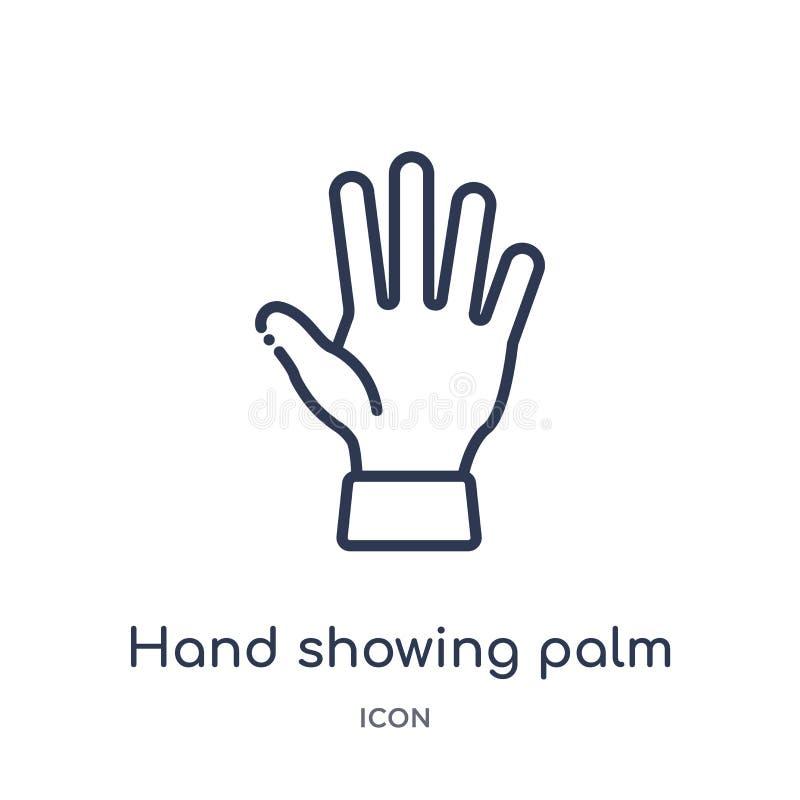 Icona lineare della palma di rappresentazione della mano dalla raccolta umana del profilo delle parti del corpo Linea sottile ico illustrazione vettoriale