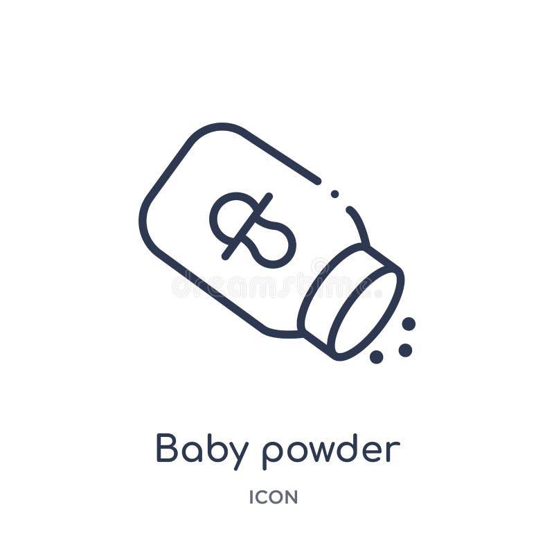Icona lineare della polvere di bambino dalla raccolta del profilo di bellezza Linea sottile icona della polvere di bambino isolat royalty illustrazione gratis
