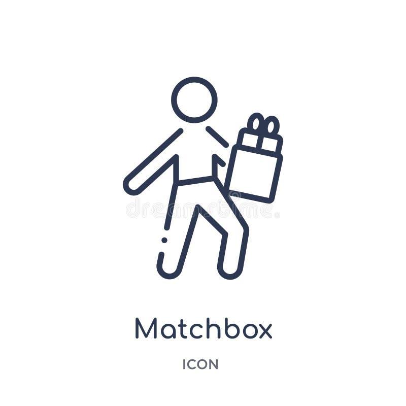 Icona lineare della scatola di fiammiferi da attività e dalla raccolta del profilo di hobby Linea sottile vettore della scatola d illustrazione vettoriale