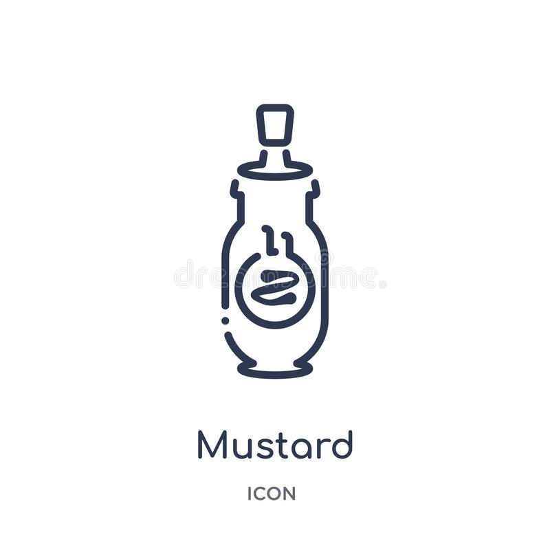 Icona lineare della senape dalla raccolta del profilo della gastronomie Linea sottile icona della senape isolata su fondo bianco  illustrazione di stock
