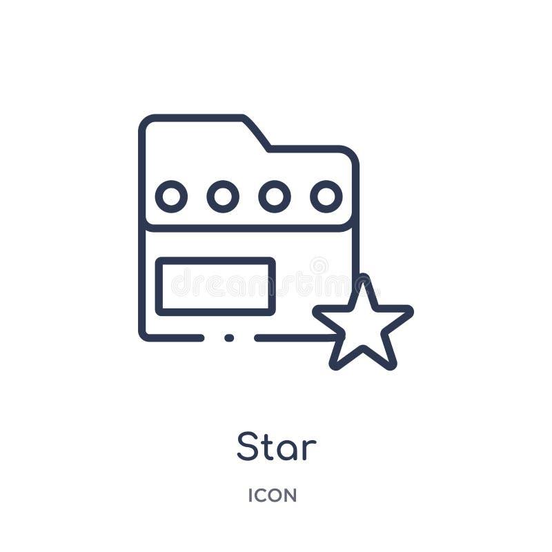 Icona lineare della stella dalla raccolta del profilo del influencer e di blogger Linea sottile vettore della stella isolato su f royalty illustrazione gratis