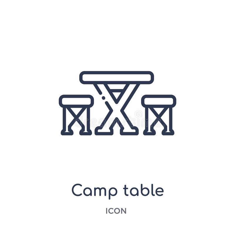 Icona lineare della tavola del campo dalla raccolta di campeggio del profilo Linea sottile vettore della tavola del campo isolato illustrazione vettoriale