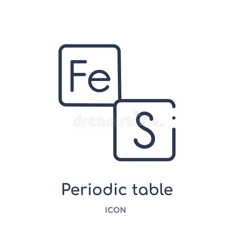 Icona lineare della tavola periodica dalla raccolta del profilo di istruzione Linea sottile vettore della tavola periodica isolat royalty illustrazione gratis