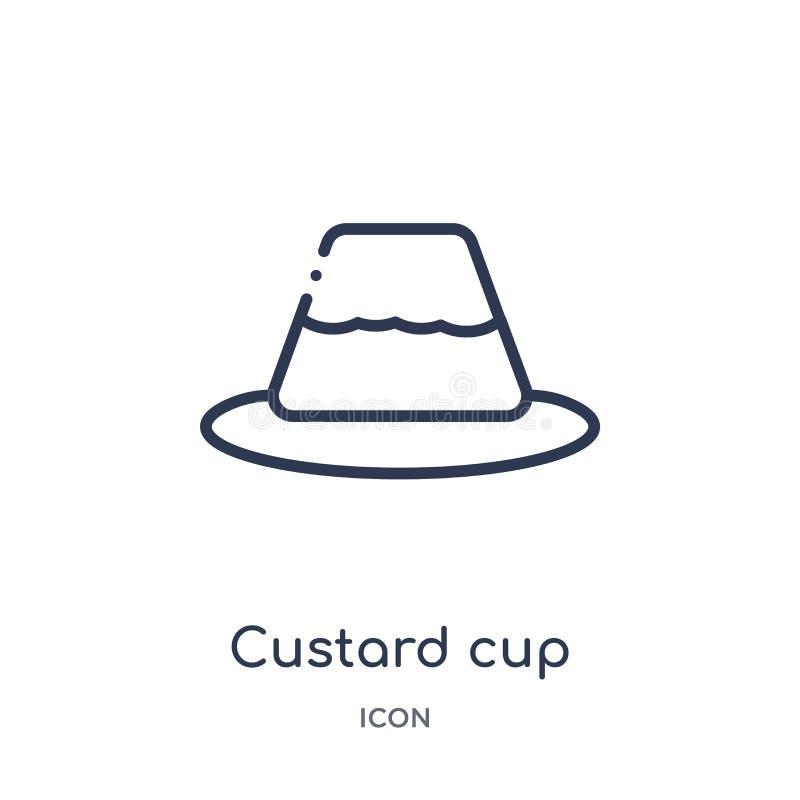 Icona lineare della tazza della crema dalla raccolta del profilo della cucina Linea sottile icona della tazza della crema isolata illustrazione di stock