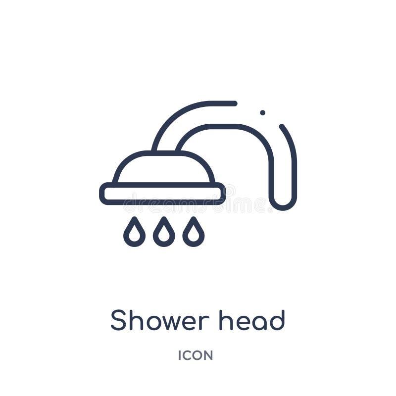 Icona lineare della testa di doccia dalla raccolta del profilo di bellezza Linea sottile vettore della testa di doccia isolato su royalty illustrazione gratis