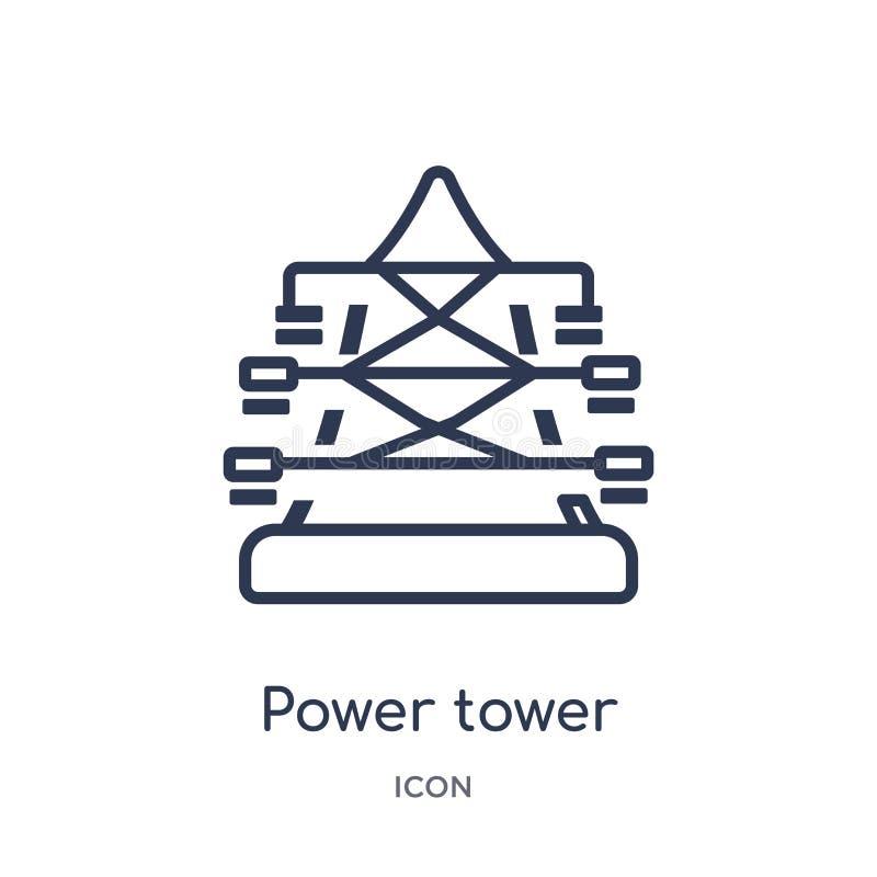 Icona lineare della torre di potere dalla raccolta del profilo di industria Linea sottile icona della torre di potere isolata su  illustrazione vettoriale