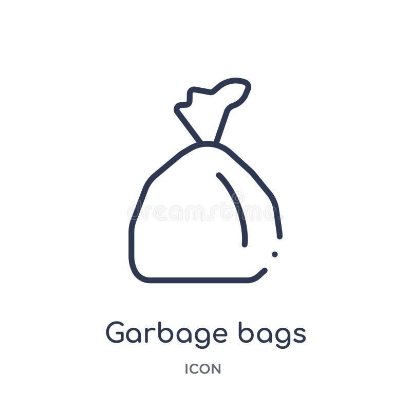 Icona lineare delle borse di immondizia dalla raccolta del profilo della famiglia e della mobilia Linea sottile icona delle borse royalty illustrazione gratis