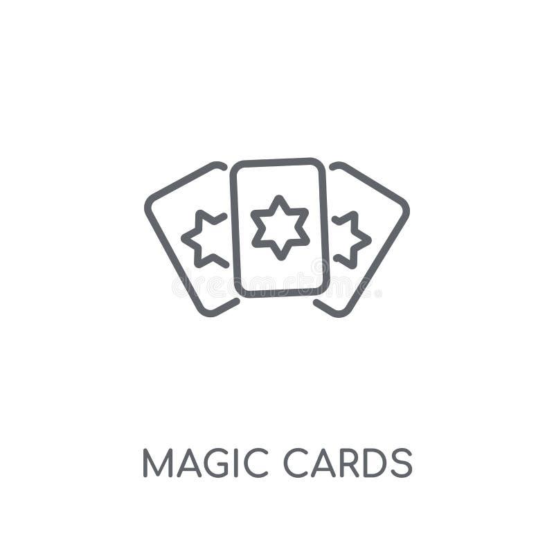 Icona lineare delle carte magiche Concetto magico di logo delle carte del profilo moderno illustrazione vettoriale