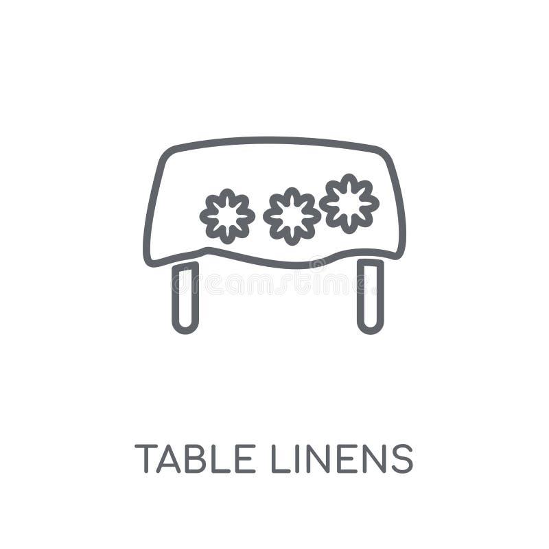 Icona lineare delle tovaglie Conce moderno di logo delle tovaglie del profilo illustrazione di stock