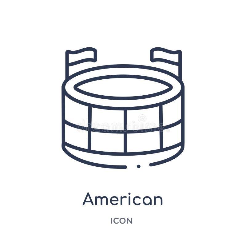Icona lineare dello stadio di football americano dalla raccolta del profilo di football americano Linea sottile vettore dello sta royalty illustrazione gratis