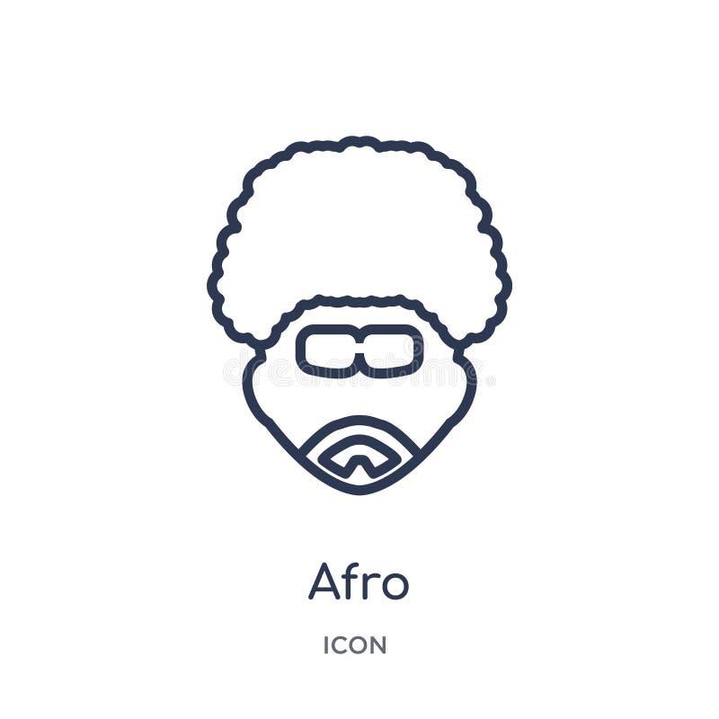 Icona lineare di afro dalla raccolta del profilo della discoteca Linea sottile vettore di afro isolato su fondo bianco illustrazi illustrazione vettoriale