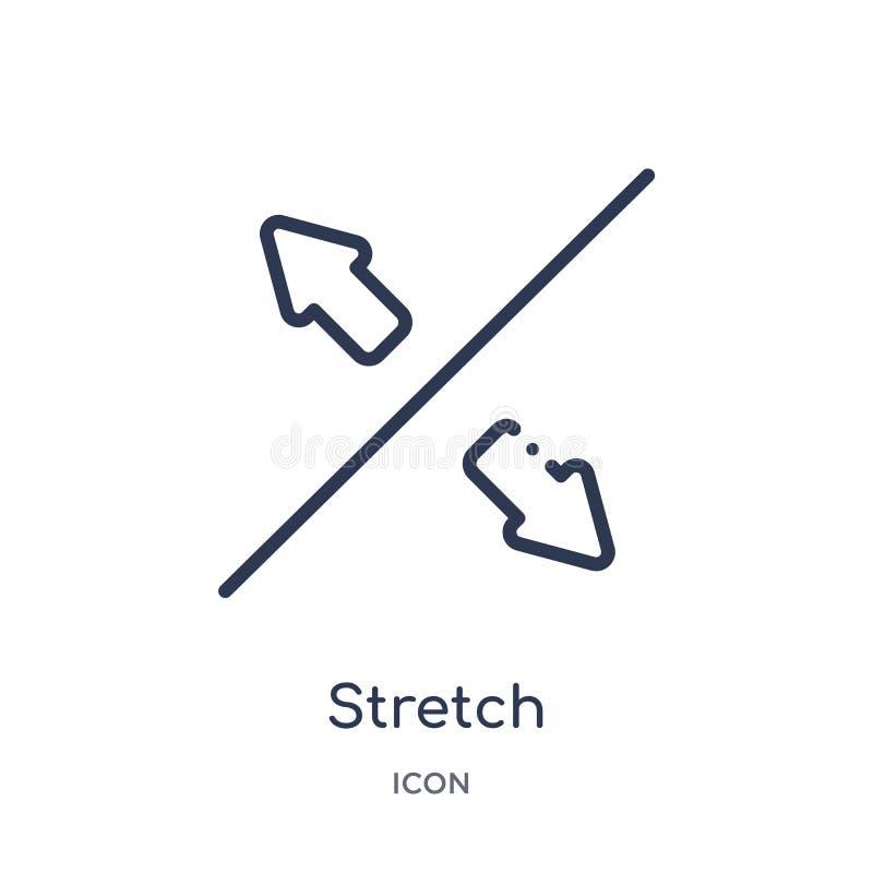 Icona lineare di allungamento dalla raccolta del profilo della geometria Linea sottile icona di allungamento isolata su fondo bia royalty illustrazione gratis