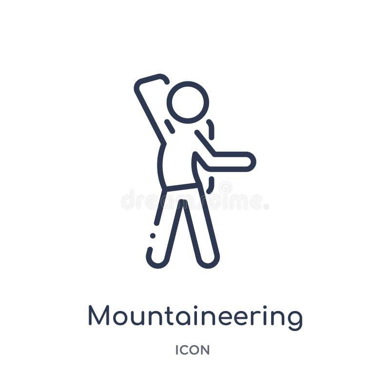 Icona lineare di alpinismo da attività e dalla raccolta del profilo di hobby Linea sottile vettore di alpinismo isolato su bianco illustrazione di stock