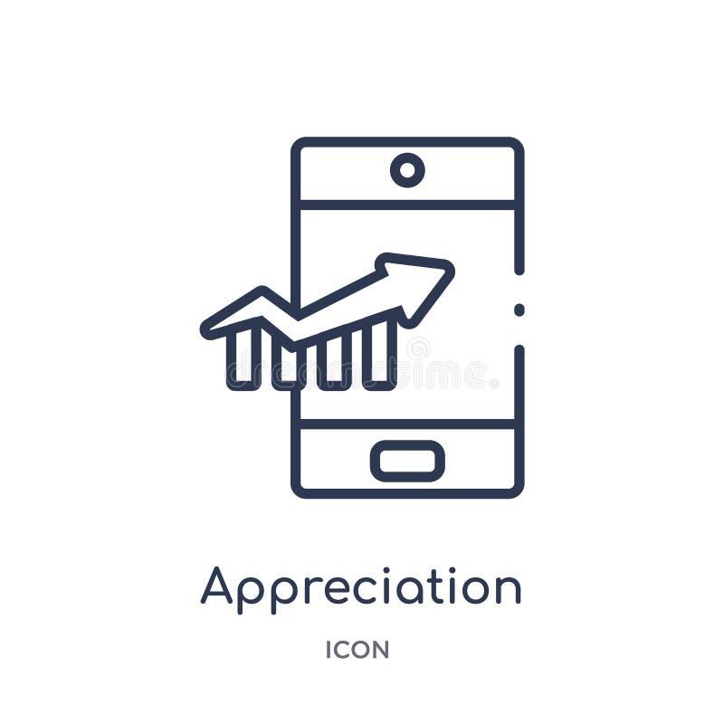 Icona lineare di apprezzamento dalla raccolta commercializzante del profilo Linea sottile icona di apprezzamento isolata su fondo illustrazione di stock