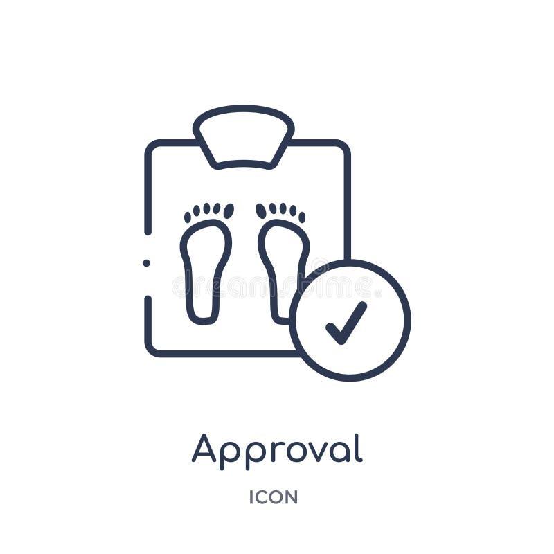 Icona lineare di approvazione dalla raccolta medica del profilo Linea sottile icona di approvazione isolata su fondo bianco appro illustrazione di stock