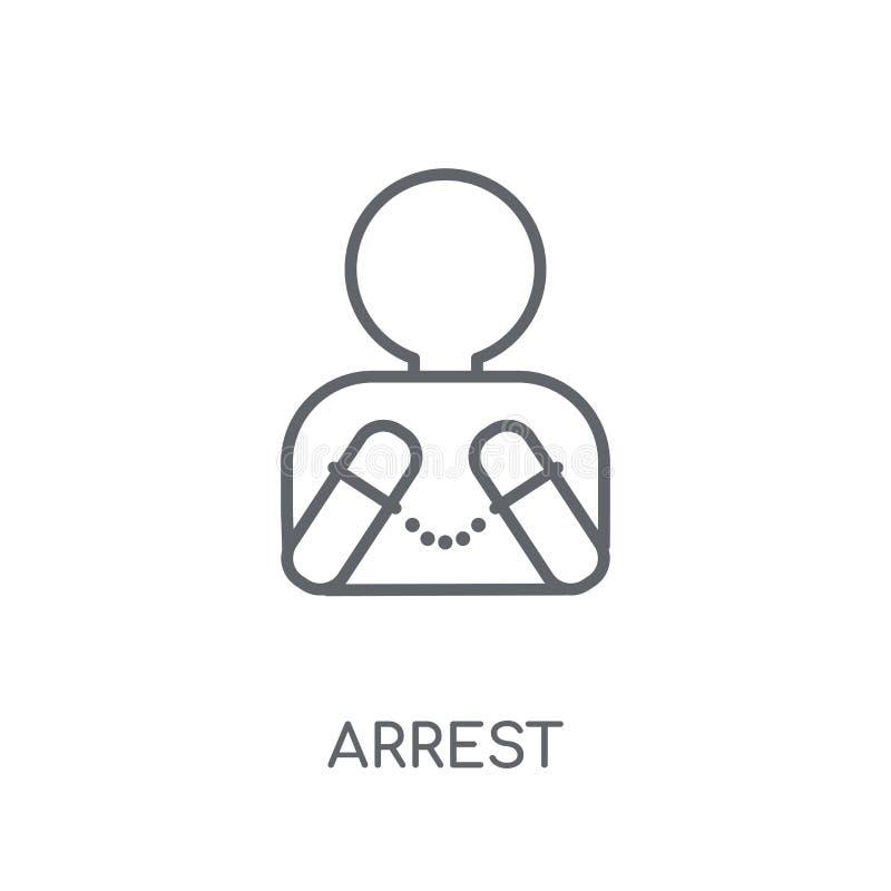 Icona lineare di arresto Concetto moderno di logo di arresto del profilo su bianco illustrazione vettoriale